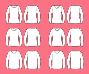 Vector illustration of women's jerseys.Silhouettes and necklines