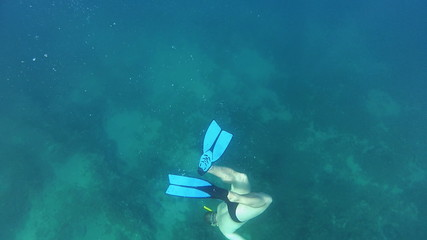 Diver deep under