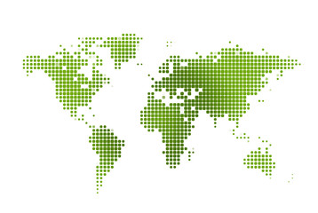 World map green dotted