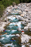 Kayakers  in white water