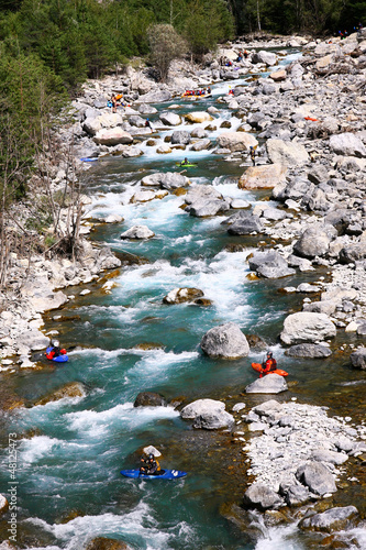Kayakers  in white water - 48125473