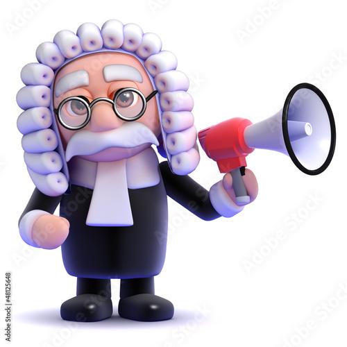 Judge announce decision through loud hailer
