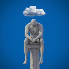 Männliche Statue sitzt auf Säule 3D Wolke