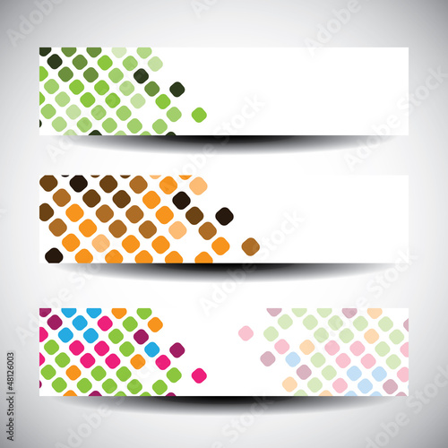 Colorful vector set of three header designs