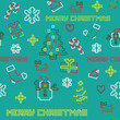 seamless retro pixel game Christmas vector pattern