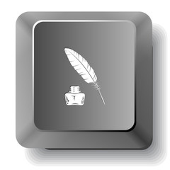 Feather and ink bottle. Vector computer key.