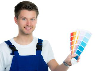 anstreicher mit farbpalette