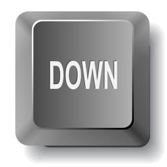 Down. Vector computer key.