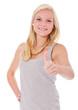 Attraktive junge Frau zeigt Daumen hoch