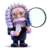 Judge studies through his magnifying glass