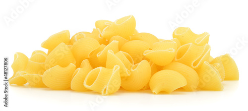 Lumache pasta from side isolated on white background