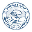 Stamp with surfer on wave and name of Swami's Reef, California