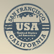 Grunge rubber stamp with name of California, San Francisco