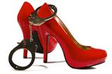 Fototapete Rot - Weiß - Schuhe