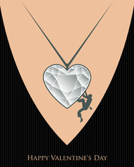 Valentine Day rock climbing, vector illustration