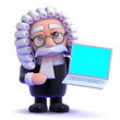 Judge in online on his laptop