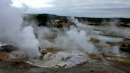 The Upper Geyser Basin at dawn in Yellowstone NP