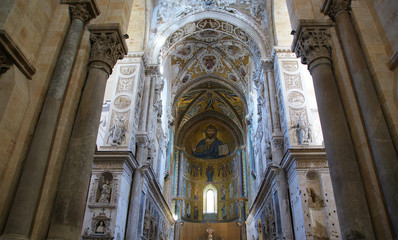 Christ Pantokrator. Cathedral-Basilica of Cefalu, sicily