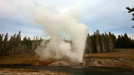 eruption of Riverside Geyser,Yellowstone NP