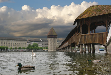 Lucerne, Switzerland. Wasserturm and Chapel Bridge