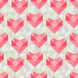 Seamless geometric pattern with origami hearts.