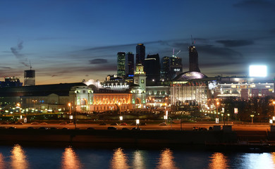 Moscow, Russia. Night. View from the embankment of the Moskva Ri
