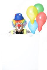 Staunender Clown mit Werbetafel
