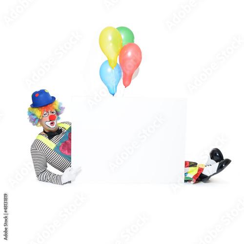 Clown mit Werbeschild