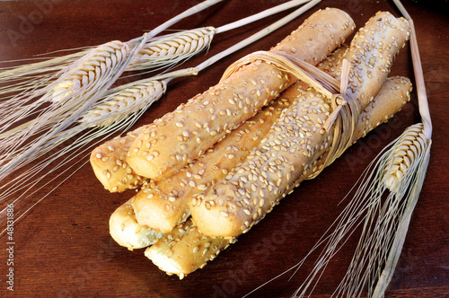 Freshly baked breadsticks with spikes