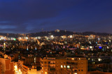 Night view from Montjuic over Barcelona, Spain. poster