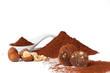 Chocolate truffles_cocoa powder, sugar and hazelnuts