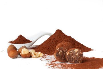 Chocolate truffles_cocoa powder, sugar and hazelnuts