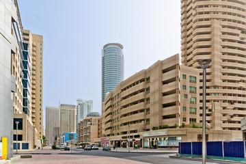 Dubai marina between skyscrapers