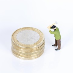 euro money coins with lumberjack