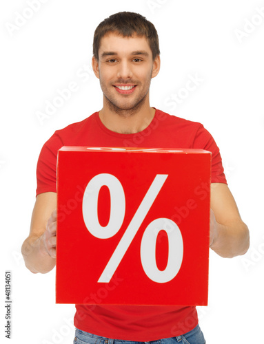 man with percent sign