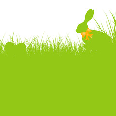 Bunny Orange Bow In The Meadow & Eggs Background