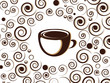 Cup of coffee or tea with floral design elements