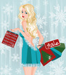 Winter sale girl with shopping bags, vector illustration