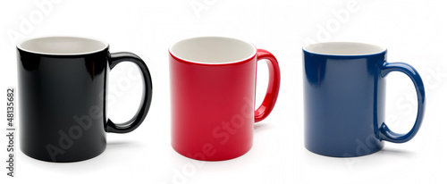 black, red and blue cups
