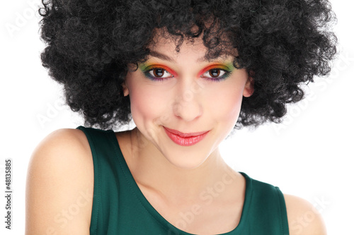Woman with black afro hairstyle