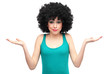 Woman with afro expressing confusion