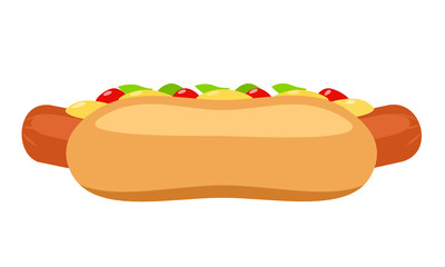 Illustration of hot dog with ketchup and mustard