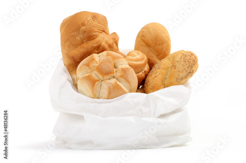 bag of bread on a white background