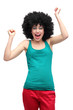 Happy woman wearing afro wig