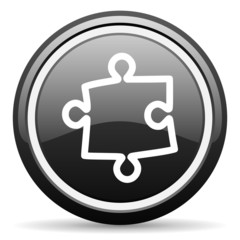 puzzle black glossy icon on white background