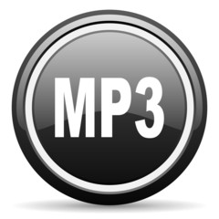 mp3 black glossy icon on white background