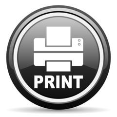 print black glossy icon on white background
