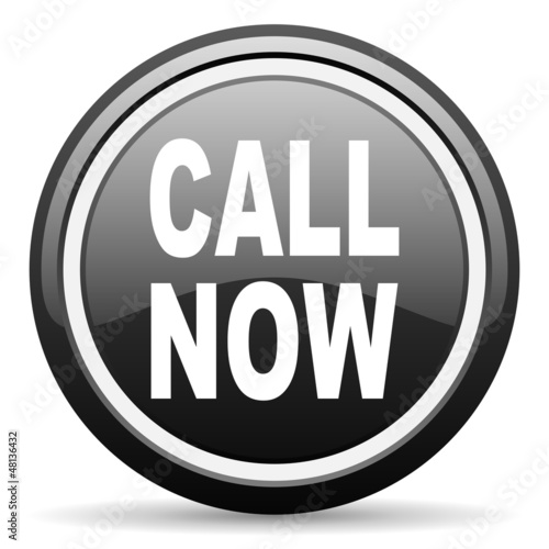 call now black glossy icon on white background