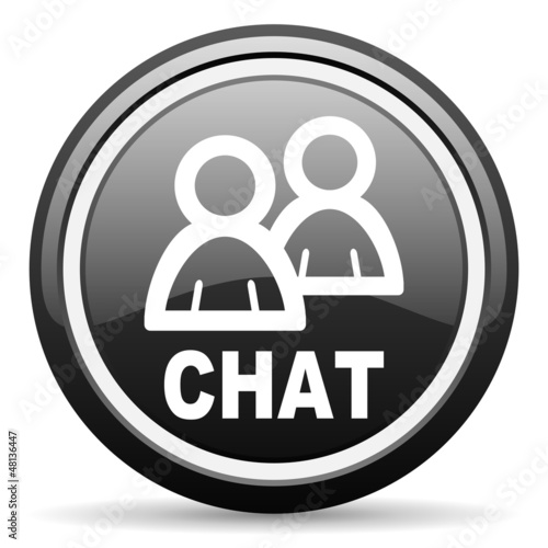 chat black glossy icon on white background
