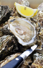 Opened oyster on pile of oysters with knife and lemon slice